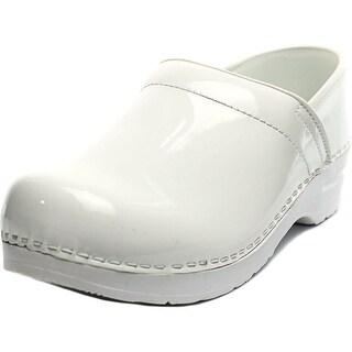 Sanita Original Prof. Celina Women Round Toe Patent Leather White Clogs