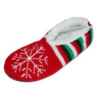 CTM® Women's Holiday Christmas Knit Slipper with Sherpa Fleece Lining