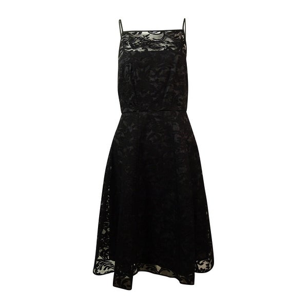 bff2f667e740 Shop Calvin Klein Women s Embroidered Organza A-Line Dress - Black - On  Sale - Free Shipping Today - Overstock.com - 15014055