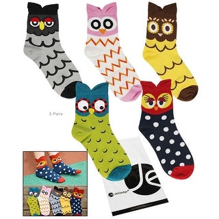 JAVOedge 5 Pack of Cute Owl Crew Socks with Patterns and Ears - various