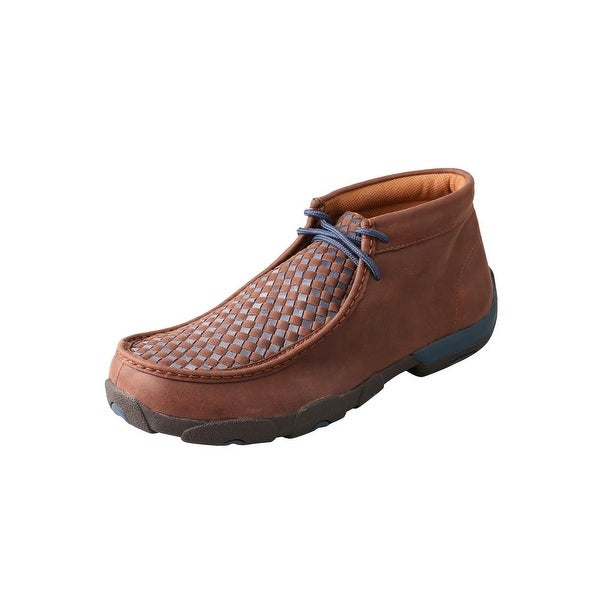 Twisted X Casual Shoes Mens Mocs Checkerboard Lace Brown Blue MDM0030