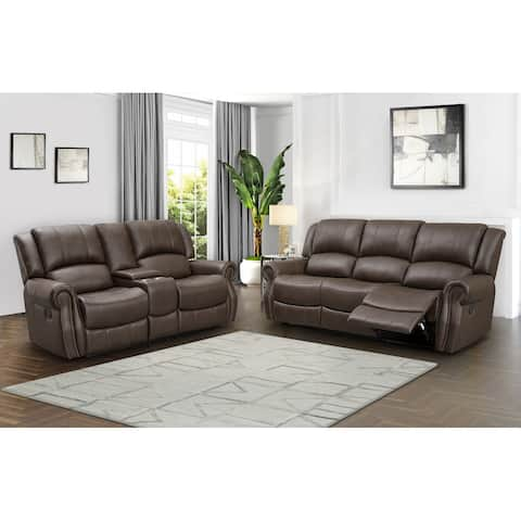 Abbyson Calabasas Reclining Sofa and Loveseat Set