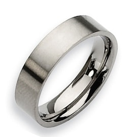 Chisel Flat Brushed Titanium Ring (6.0 mm)
