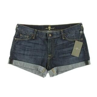 7 For All Mankind Womens Dark Wash Flat Front Denim Shorts - 27
