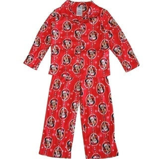 Disney Girls Red Minnie Mouse Christmas Print 2 Pc Pajama Set