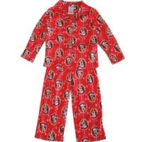 Disney Little Girls Red Minnie Mouse Christmas Print 2 Pc Pajama Set