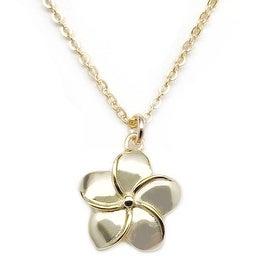 """Julieta Jewelry Plumeria Flower Gold Charm 16"""" Necklace"""