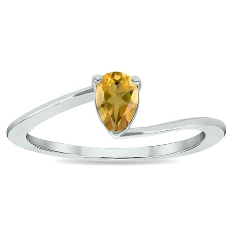 Women's Solitaire Citrine Wave Ring in 10K White Gold
