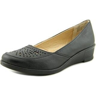 Easy Street Greer Women WW Open Toe Synthetic Black Wedge Heel