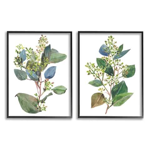 Stupell Industries Soft Eucalyptus Plant Blue Green Ombre Leaves Framed Wall Art
