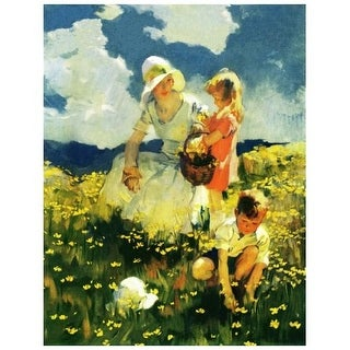 """Marmont Hill MH-KIDCUR-12-C-31 31 Inch x 24 Inch """"Family Picnic"""" Giclee Art Print on Stretched Canvas by Curtis - 31 x 24"""