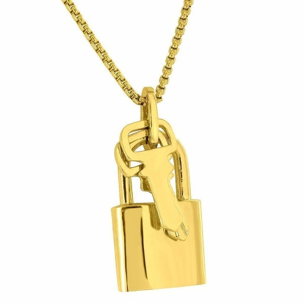 "Mens Lock & Key Charm Designer With Free 24"" Stainless Steel Box Chain 18K Gold Finish"