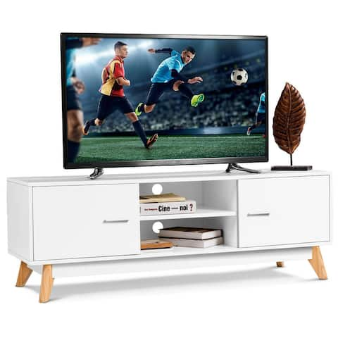 Costway TV Stand Entertainment Center Console Cabinet Stand 2 Doors