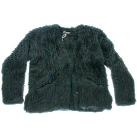 Elizabeth and James Womens Rabbit Fur Collarless Jacket