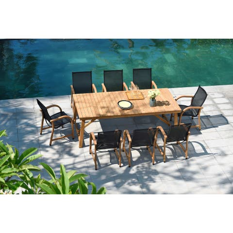 Lifestyle Garden 9-piece Teak Patio Dining Set with Black Chairs