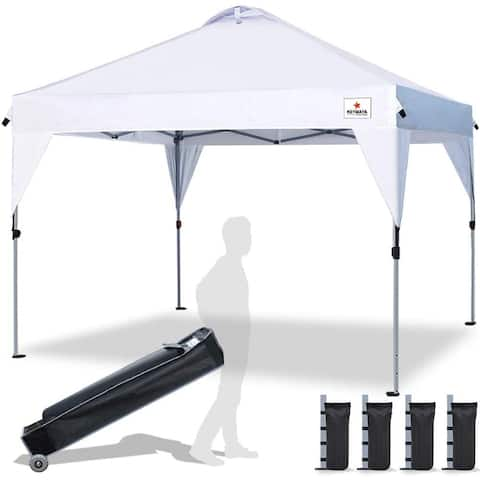 10' x 10' Heavy Duty Pop Up Tent Folding Beach Tent 4-6 Person with Roller Bag and 4 Sand Weight Bags Multi Color