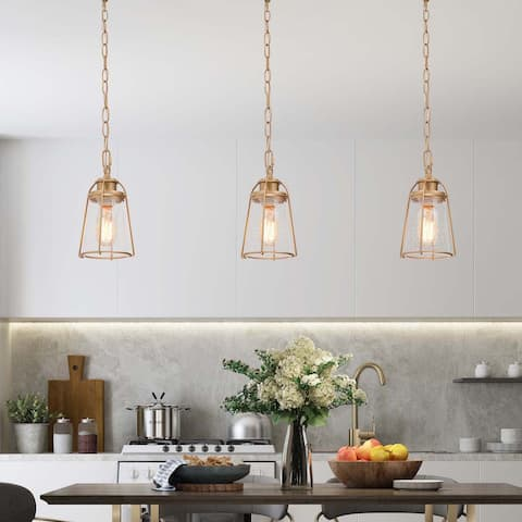 "Modern Seeded Gold Kitchen Island Pendant Bubble Glass Lighting Fixture - D 4.75"" x H 6.5"""