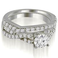14kt White Gold1.00 CT.TW Twisted Split Shank Round Cut Diamond Bridal Set HI,SI1-2
