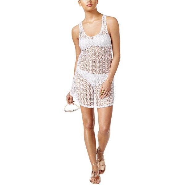 28689f1883 Shop MIKEN Womens Sheer Crochet Cover Up Dress White X-Large - Free  Shipping On Orders Over $45 - Overstock - 16133520