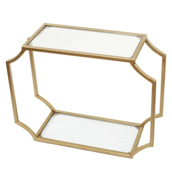 "20.75"" Gold Geometric Design Glass City Chic Wall Shelf - N/A"