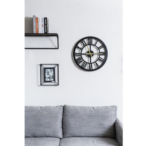 20 Inch Black Wall Clock, Roman Numerals Style Home Décor Silent Battery Operated - 19.75*1.75