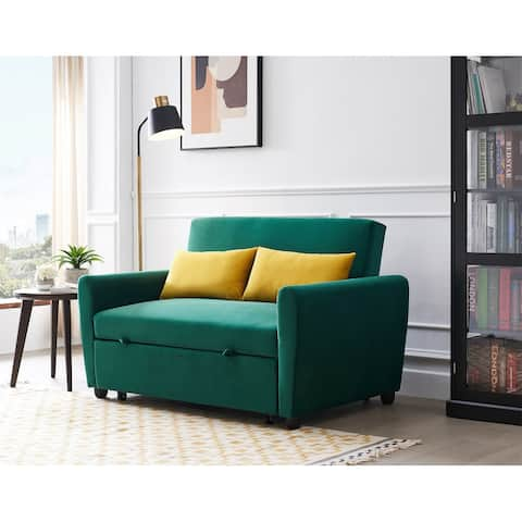 """Merax 55"""" Modern Velvet Sofa with Pull-Out Bed for Small Spaces"""