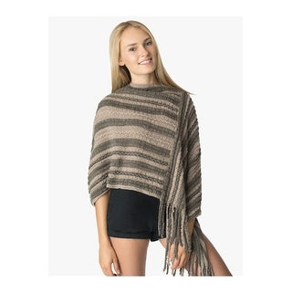 Womens Aran Knit Poncho with Fringe