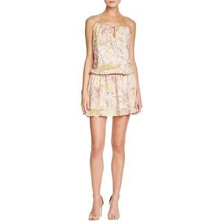 Aqua Womens Nicole Mini Dress Floral Print Blouson