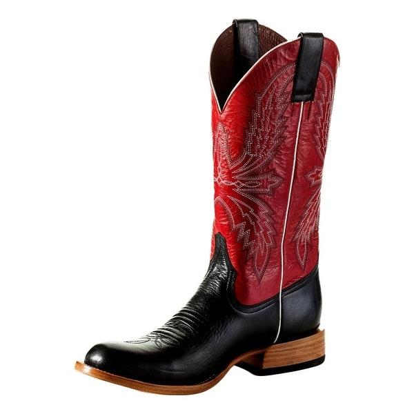 Horse Power Western Boots Men Bump Roper Tabs Black Glazed Goat