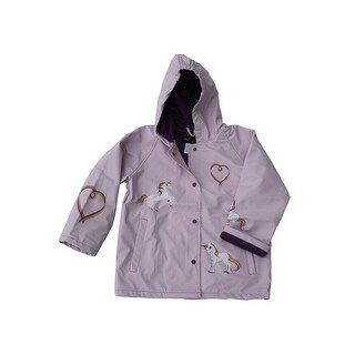 Foxfire Girls Lilac Rainbow Heart Unicorn Print Hooded Rain Coat