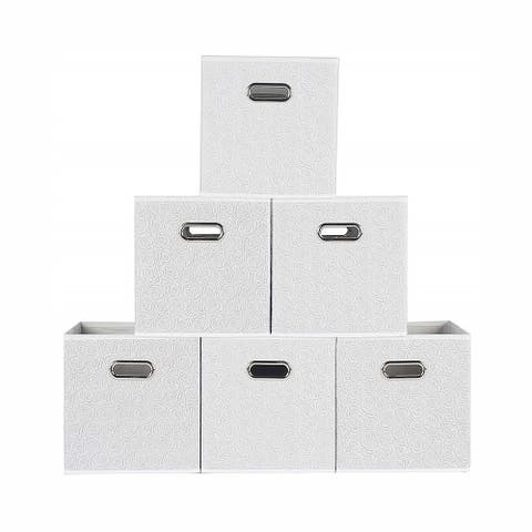 Enova Home Fabric Storage Bins With Metal Handles (Set of 6)