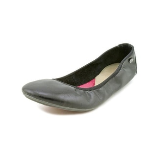 Hush Puppies Chaste Ballet Women Round Toe Leather Black Ballet Flats
