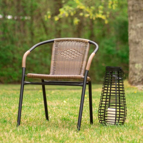 2 Pack Rattan Indoor-Outdoor Restaurant Stack Chair