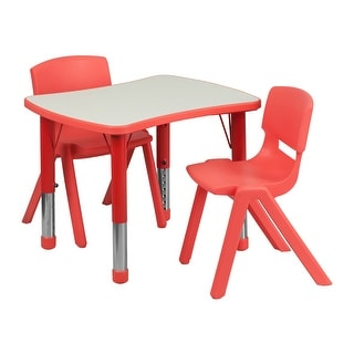 Offex 21.875''W x 26.625''L Adjustable Rectangular Red Plastic Activity Table Set with 2 School Stack Chairs
