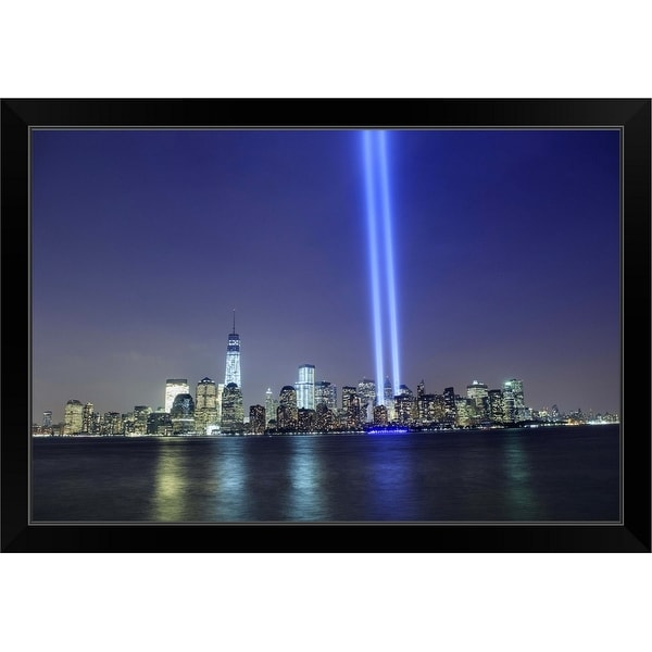 """Tribute in Light, New York City Skyline"" Black Framed Print"