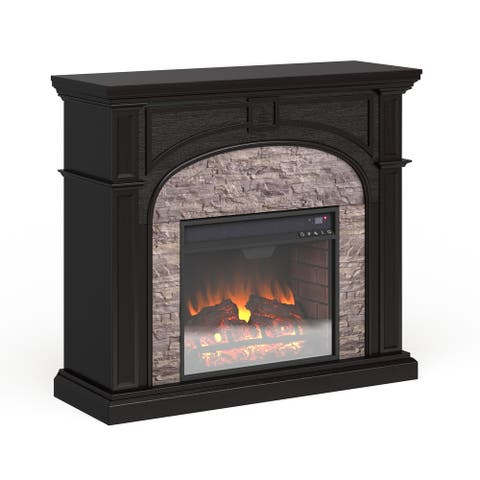 Copper Grove Highfalls Black Stacked Faux Stone Electric Fireplace - N/A