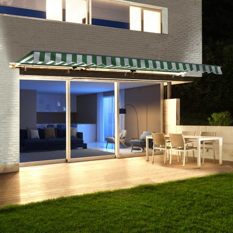 ALEKO Motorized LED 16 x 10 ft Half Cassette Retractable Awning Green and White