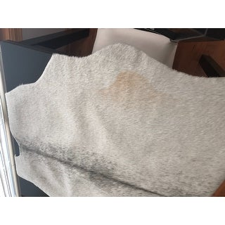Alexander Home Faux Cowhide Silver Grey Area Rug - 3'10 x 5'