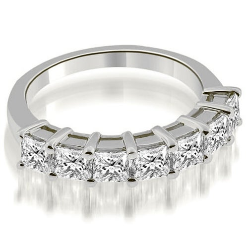2.00 cttw. 14K White Gold Prong Set Princess Cut Diamond Wedding Band