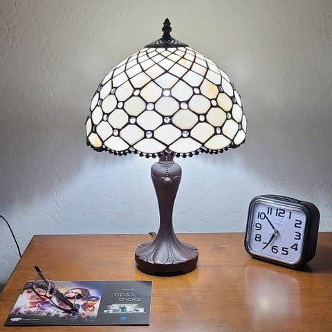 """Tiffany Style Table Lamp Jeweled Beaded 19"""" Tall Stained Glass White Stains Bedroom Office Handmade AM120TL12B Amora Lighting"""