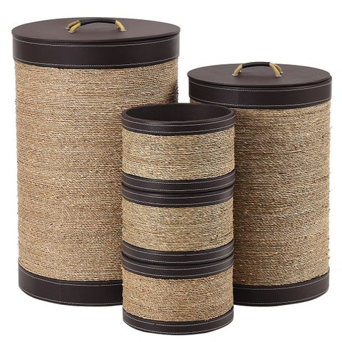 Gymax 5 PCS Round Storage Basket Seaweed Hamper Open Box Laundry Basket Bin Organizer - as pic