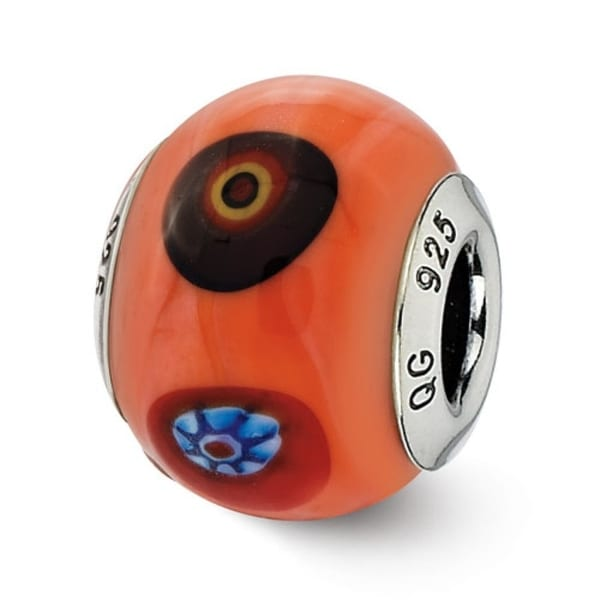 Italian Sterling Silver Reflections Orange with Decorative Accents Glass Bead (4mm Diameter Hole)