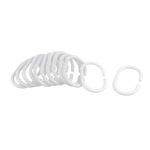 Bath Drape Glide Shower Curtain Hook Hanger Ring Loop Clasp Clip 12PCS