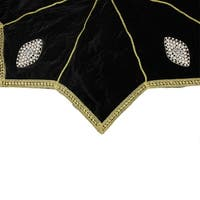 "54"" Elegant Gold Trimmed Black Velveteen Jeweled Christmas Tree Skirt"
