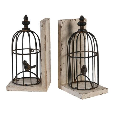 """Set of 2 Brown and Beige Birdcage Shaped Bookends 9.75"""""""
