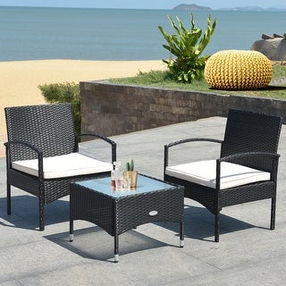 Costway 3 PCS Furniture Set Table & 2 Chair Patio Wicker Rattan