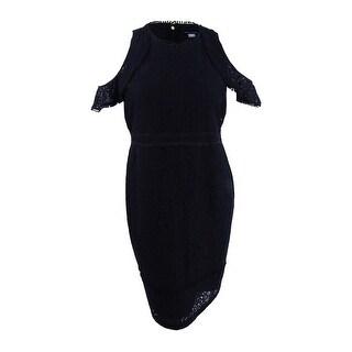 Tommy Hilfiger Women's Cold-Shoulder Lace Dress - Black