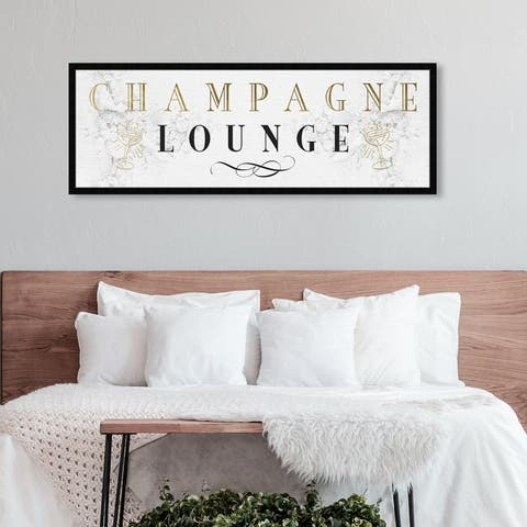 Oliver Gal 'Champagne Lounge' Advertising Wall Art Framed Print Posters - White, Gold