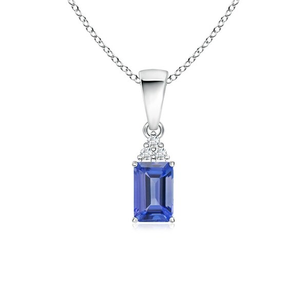 Angara Prong Set Emerald Cut Tanzanite Pendant with Diamond