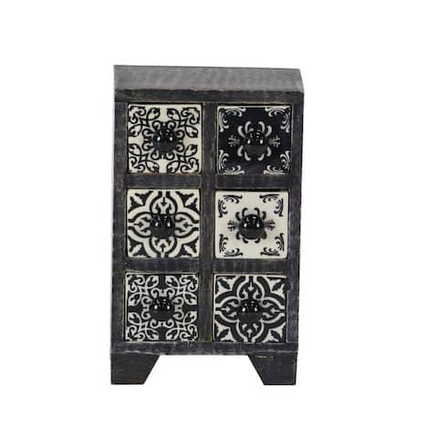 Traditional Rectangular Lattice-Patterned 6-Drawer Ceramic Jewelry Box